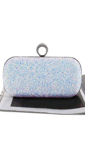 Icy Sequin Clutch - White - EastEssence.com