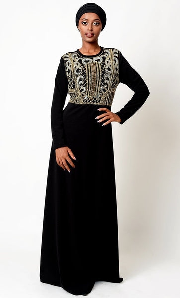 Intricated Beads Applique Work Traditional Abaya Dress - EastEssence.com