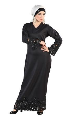 Jaal pattern lace embroidered A line abaya dress - EastEssence.com