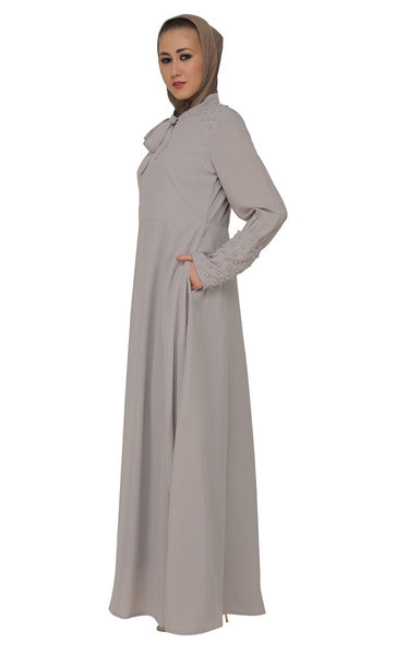 Jabot Collar Basic Casual Wear Abaya Dress - EastEssence.com