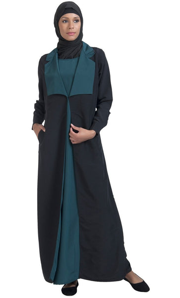 Jacket style and front flaps detail muslimah abaya dress - EastEssence.com