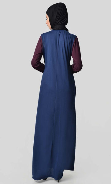 Jersey Tri Color Winter Abaya - Wine + Grey + Navy - EastEssence.com
