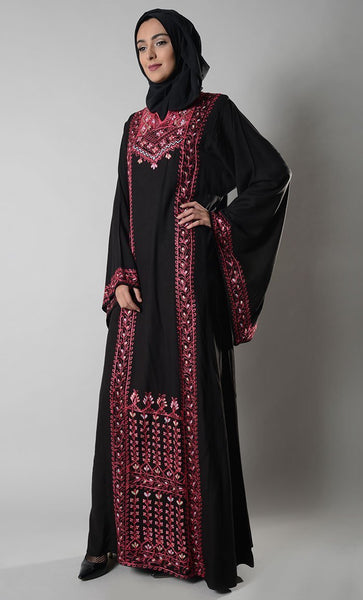 Jordanian Palestinian floral Embroidered Dress and hijab set - EastEssence.com