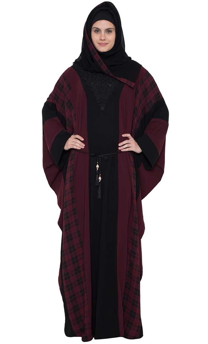 7367fdd316004e Eastessence presents Kaftan style checkered abaya dress available ...