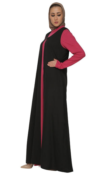 Knitted Long Dress With Black Asymmetrical Abaya - EastEssence.com