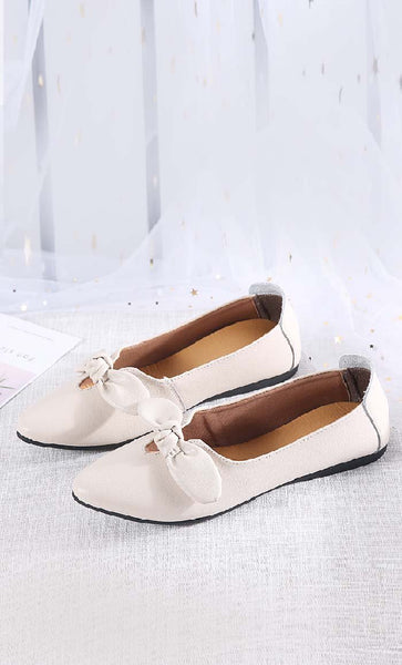 Knot the Bow Shoes - Cream - *Size Up* - EastEssence.com