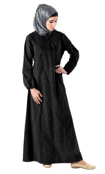 Knotted Tie Up Detail Corduroy Abaya Dress - EastEssence.com