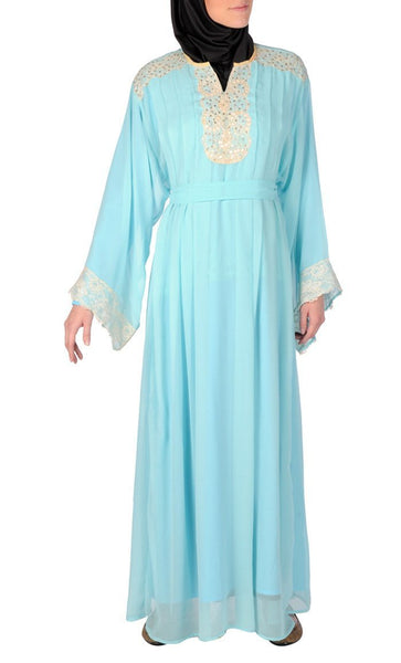 Lace And Beads Applique Work Abaya Dress - EastEssence.com