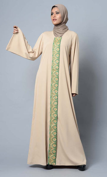 Lace embroidered and bell sleeves muslimah abaya dress - EastEssence.com