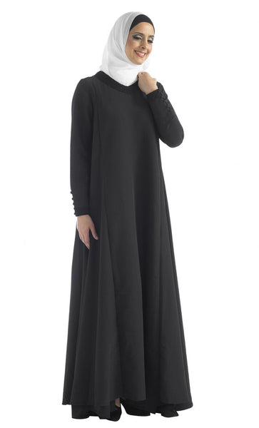 Lace Embroidered Gown Style Flared Abaya Dress - EastEssence.com