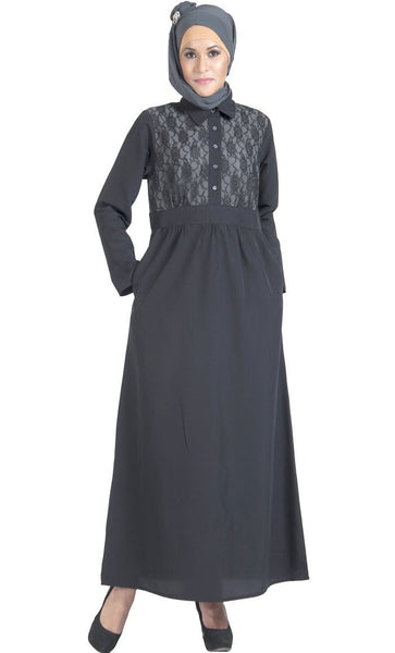 Lace embroidered shirt style flared abaya dress - EastEssence.com