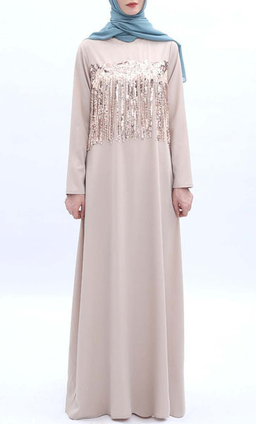 Lace Shimmer Abaya - Cream - *Size Up* - EastEssence.com