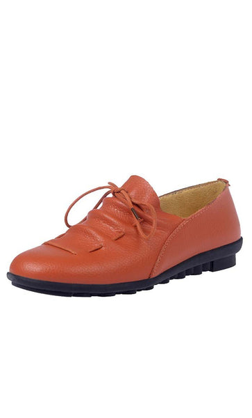 Lace-Up Flat Shoes - Brown - *Size Up* - EastEssence.com