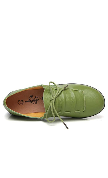Lace-Up Flat Shoes - Green - *Size Up* - EastEssence.com