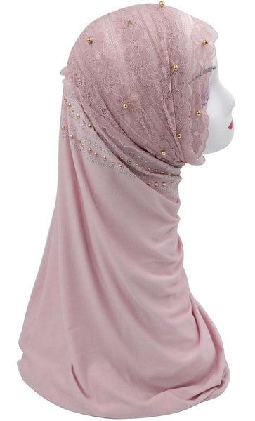 Lace with Trims Embroidered Hijab Stole-Pink - EastEssence.com