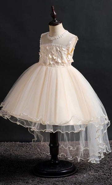 Laced Girl's Dress (Champagne)-*Size Up* - EastEssence.com