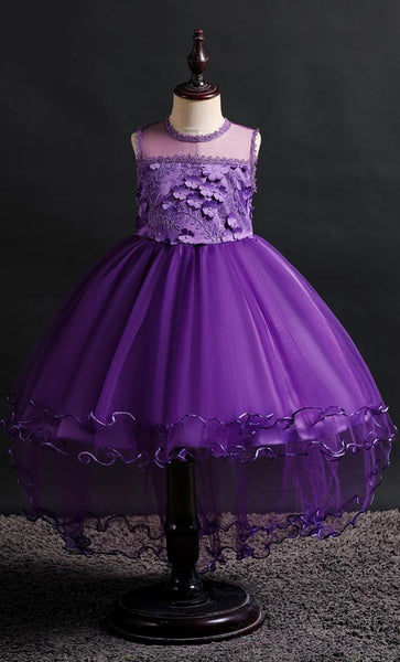 Laced Girl's Dress (Purple)-*Size Up* - EastEssence.com