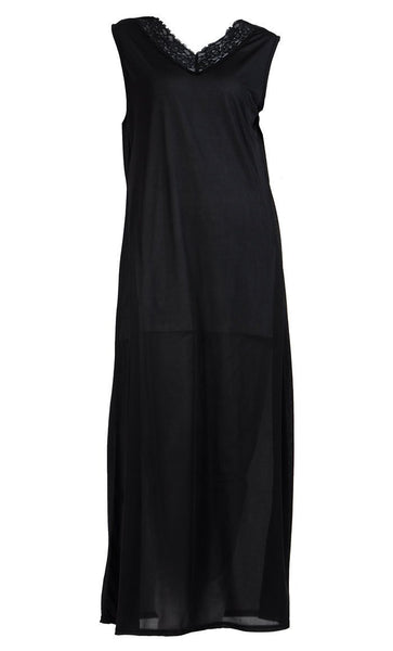 Laced Neckline And Sleeveless Under Dress Full Length Slip On Lining - EastEssence.com