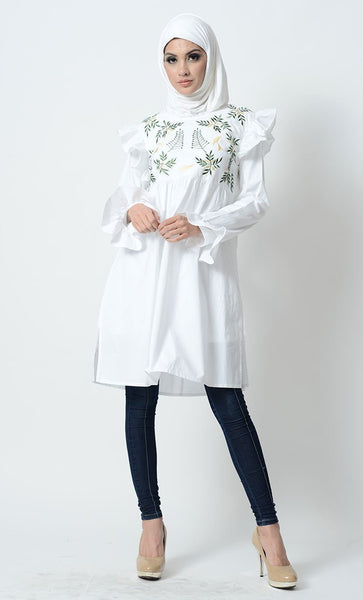 Leaf Embroidered And Ruffled Tunic - EastEssence.com