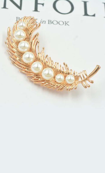 Leaf with pearls Hijab pin - EastEssence.com