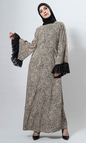 Leopard Print And Frilled Sleeves Detail Long Abaya Dress - EastEssence.com