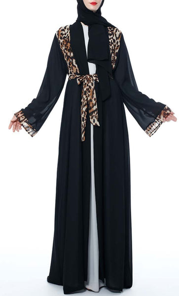 Leopard Print Detailed Trendy Shrug - Black - *Size Up* - EastEssence.com