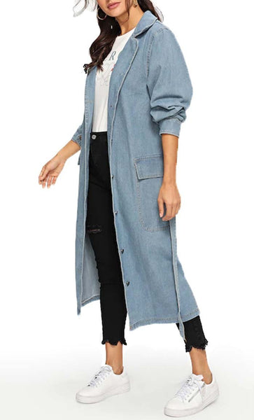 Long Denim Jacket-Light Blue - EastEssence.com
