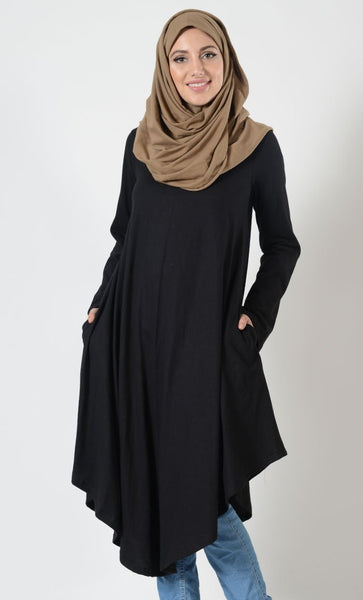 Long Flare V-Hem Tunic - EastEssence.com