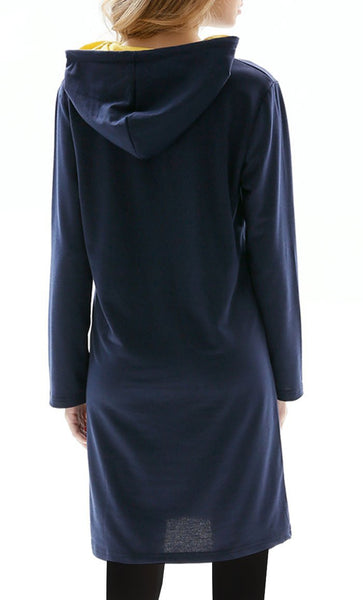Long Hooded Patched Sweatshirt - Navy - *Size Up* - EastEssence.com
