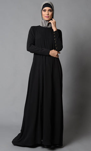Loops Button Detail Everyday Wear Abaya Dress - EastEssence.com