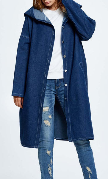 Loose Hooded Denim Jacket-Dark Blue - EastEssence.com