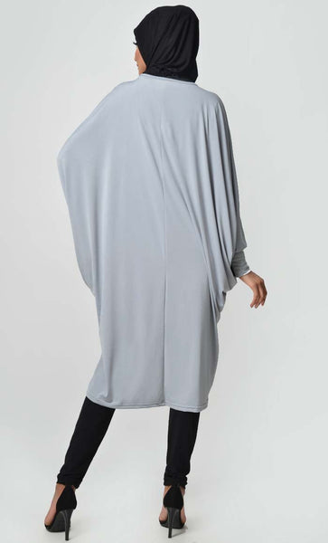 Loose Kaftan Stylish Tunic - Grey + Black - EastEssence.com
