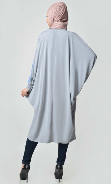 Loose Kaftan Stylish Tunic - Grey + Blue - EastEssence.com