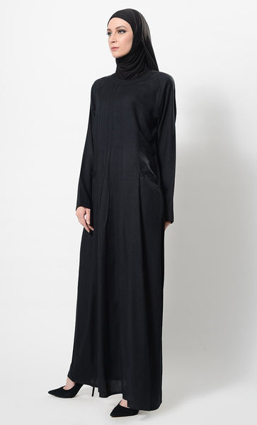 Loose Pintuck Pleated Casual Abaya Dress And Hijab Set - EastEssence.com