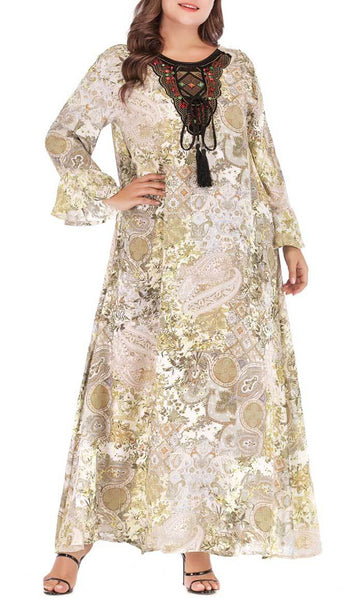 Loose Printed Daily Wear Abaya Dress (Green) - *Size Up* - EastEssence.com