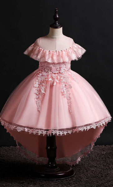 Lovely Frill Girl's Dress (Pink)-*Size Up* - EastEssence.com