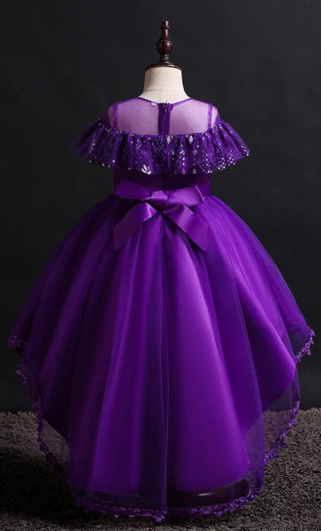 Lovely Frill Girl's Dress (Purple)-*Size Up* - EastEssence.com