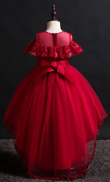 Lovely Frill Girl's Dress (Red)-*Size Up* - EastEssence.com