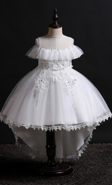 Lovely Frill Girl's Dress (White)-*Size Up* - EastEssence.com