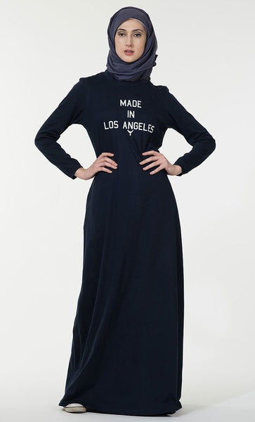 Made in Los Angeles text baisc everyday wear Abaya dress - EastEssence.com