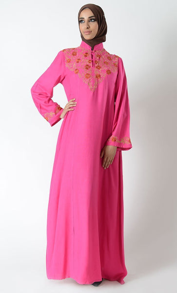 Mandarin collar floral embroidered traditional abaya dress - EastEssence.com