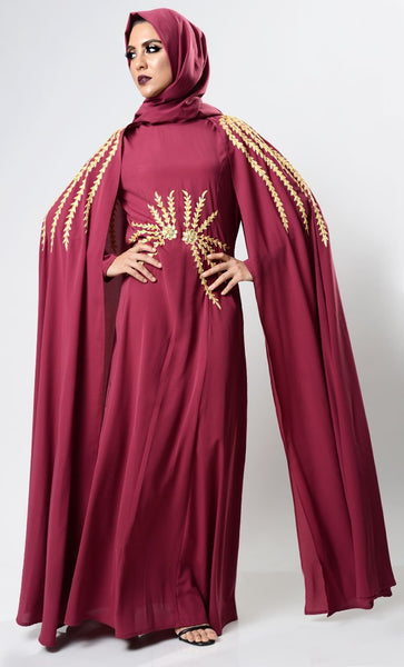 Maroon Dramatic Lavish Embroiderd Abaya - EastEssence.com