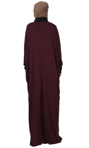 Maroon Kaftan Style Abaya Dress - EastEssence.com