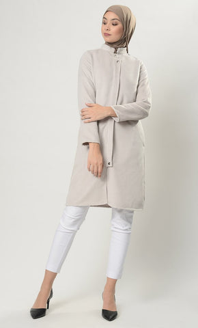 Tailored Front Zipper Jacket-Light Grey