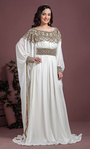 Off White Color Kaftan-Georgette Kaftan-Final Sale_As Pictured_Front_View