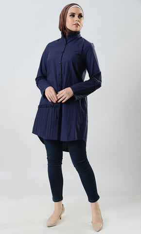 Button up pin tuck with madarian ruffle collar tunic