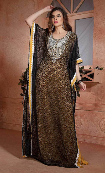 Yellow and Black Handmade Design Farasha Evening Party Kaftan-Final sale