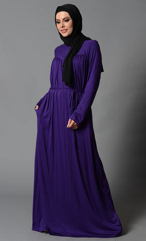 Everyday Multi Pleats Lycra Abaya - Purple_Purple_Front_View