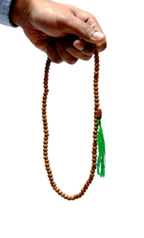 Wood Brown with Green String, Tasbeeh_Front_View