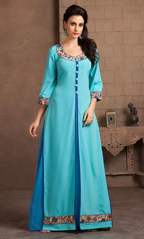 Aqua and Sky Blue Color Casual Designer Dress-Final Sale_As Pictured_Front_View
